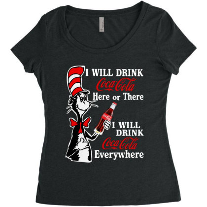 The Cat Drink Cola Women's Triblend Scoop T-shirt Designed By Pinkanzee