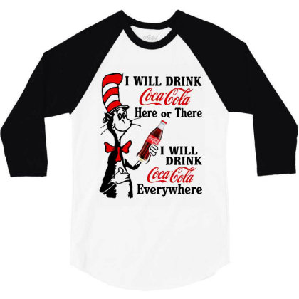 The Cat Drink Cola 3/4 Sleeve Shirt Designed By Pinkanzee