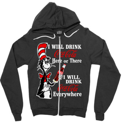 The Cat Drink Cola Zipper Hoodie Designed By Pinkanzee
