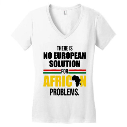 No Solution For African Women's V-neck T-shirt Designed By Pinkanzee