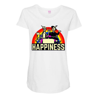 Happiness Anime Maternity Scoop Neck T-shirt Designed By Pinkanzee