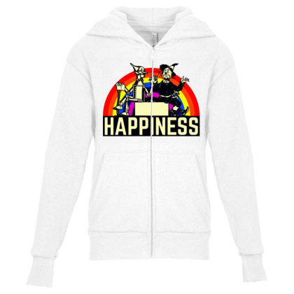 Happiness Anime Youth Zipper Hoodie Designed By Pinkanzee