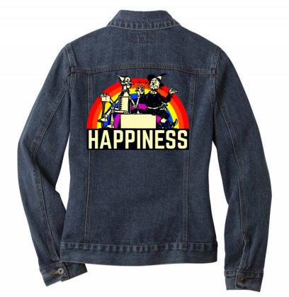 Happiness Anime Ladies Denim Jacket Designed By Pinkanzee