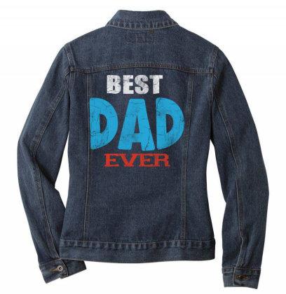 Best Dad Ever Ladies Denim Jacket Designed By Pinkanzee