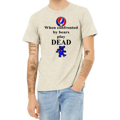 Bears Play Dead Heather T-shirt Designed By Pinkanzee