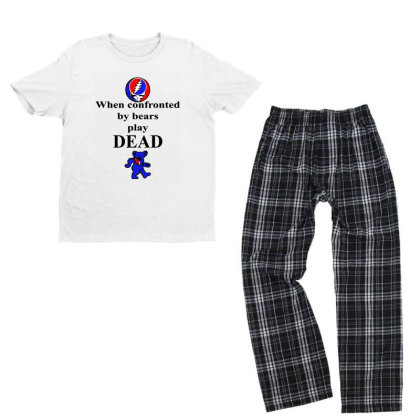 Bears Play Dead Youth T-shirt Pajama Set Designed By Pinkanzee