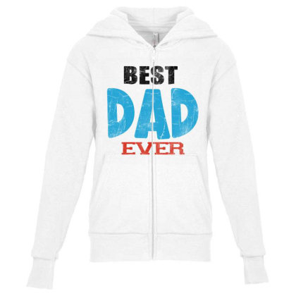 Best Dad Ever Youth Zipper Hoodie Designed By Pinkanzee