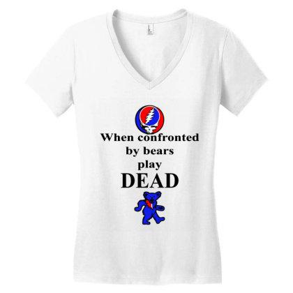 Bears Play Dead Women's V-neck T-shirt Designed By Pinkanzee