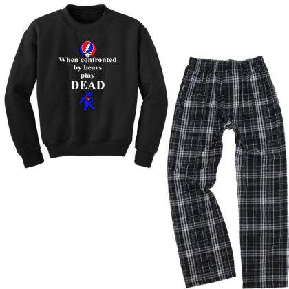 Bears Play Dead Youth Sweatshirt Pajama Set Designed By Pinkanzee