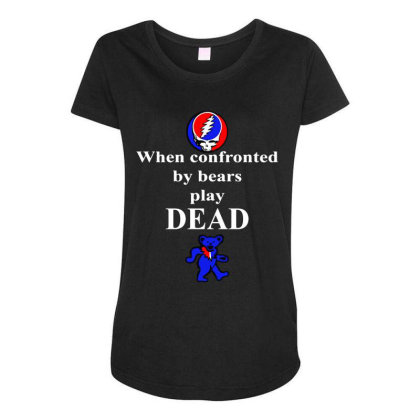 Bears Play Dead Maternity Scoop Neck T-shirt Designed By Pinkanzee