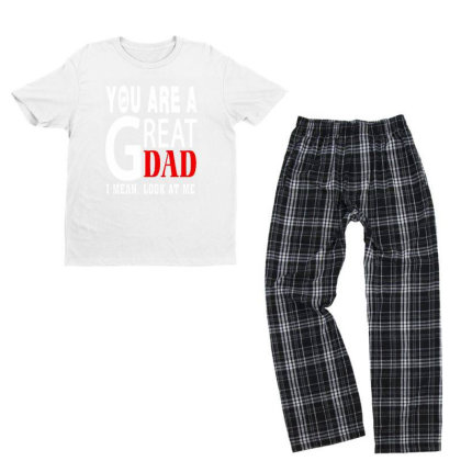 You Are A Great Dad Youth T-shirt Pajama Set Designed By Pinkanzee