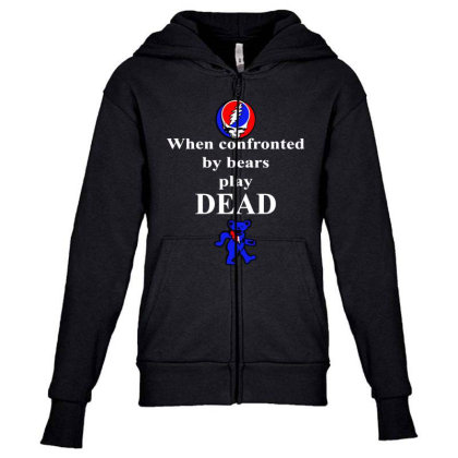Bears Play Dead Youth Zipper Hoodie Designed By Pinkanzee