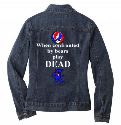 Bears Play Dead Ladies Denim Jacket Designed By Pinkanzee