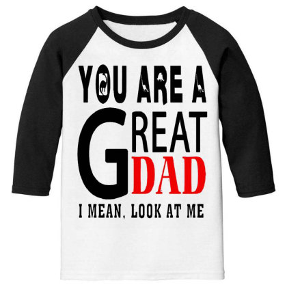Great Dad Youth 3/4 Sleeve Designed By Pinkanzee