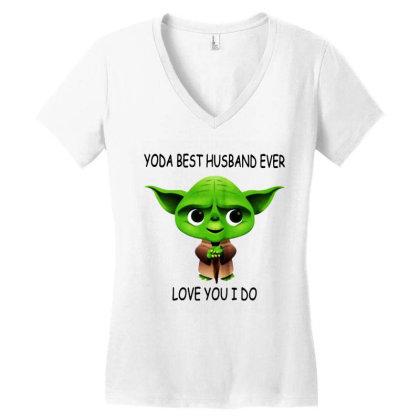 Yoda Best Husband Women's V-neck T-shirt Designed By Pinkanzee