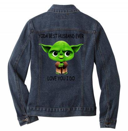 Yoda Best Husband Ladies Denim Jacket Designed By Pinkanzee
