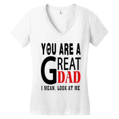 Great Dad Women's V-neck T-shirt Designed By Pinkanzee
