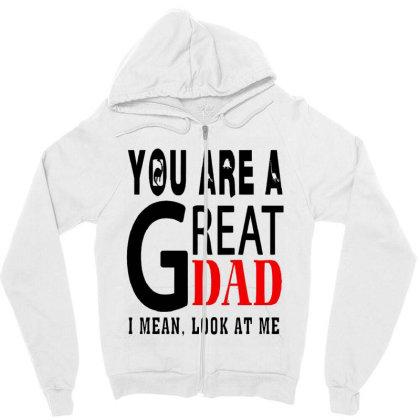 Great Dad Zipper Hoodie Designed By Pinkanzee
