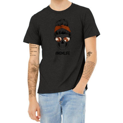 Western Brown Glitter Cowhide Patterned Mom Skull Heather T-shirt Designed By Bettercallsaul