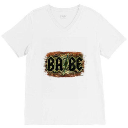 Camouflage Patterned Babe Tried V-neck Tee Designed By Bettercallsaul