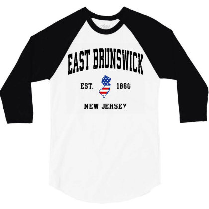 East Brunswick New Jersey Nj Vintage American Flag 3/4 Sleeve Shirt Designed By Jessicafreya