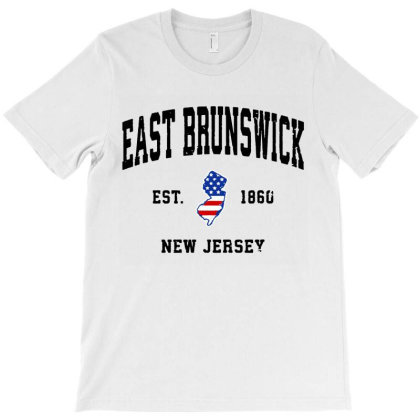 East Brunswick New Jersey Nj Vintage American Flag T-shirt Designed By Jessicafreya