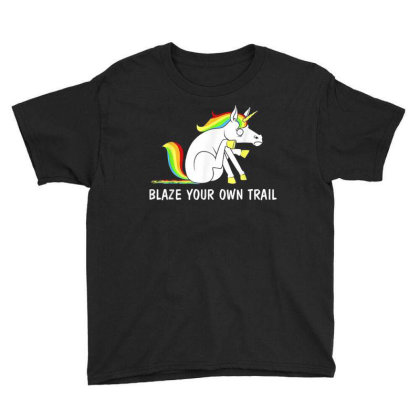 Blaze Your Own Trail Unicorn T Shirt Youth Tee Designed By New1915