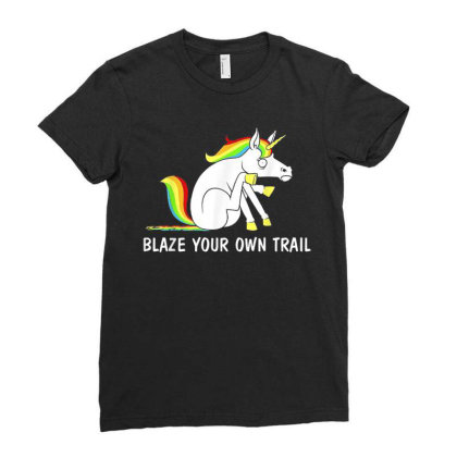 Blaze Your Own Trail Unicorn T Shirt Ladies Fitted T-shirt Designed By New1915