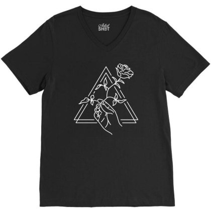 Hand And Rose V-neck Tee Designed By L4l4pow
