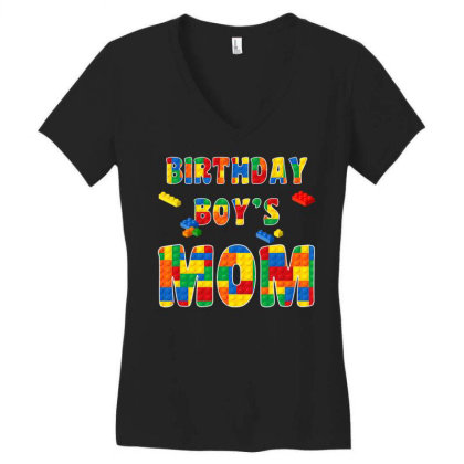 Building Block Mom Of Birthday Boy T Shirt Women's V-neck T-shirt Designed By Cuser0105