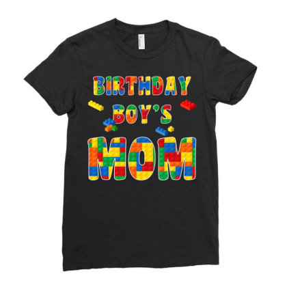 Building Block Mom Of Birthday Boy T Shirt Ladies Fitted T-shirt Designed By Cuser0105