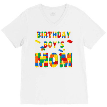 Building Block Mom Of Birthday Boy T Shirt V-neck Tee Designed By Cuser0105