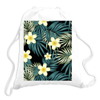Tropical Flower Dark Pattern Drawstring Bags Designed By Visudylic Creations
