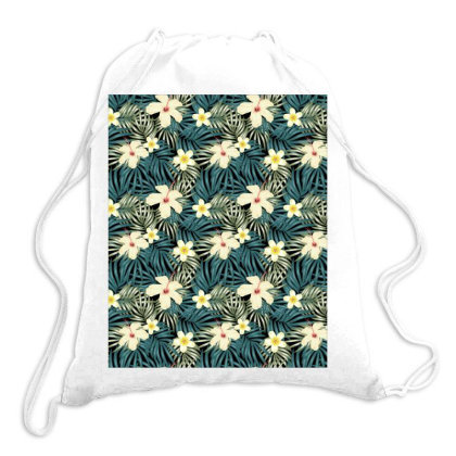 Floral Tropical Leaves Pattern Drawstring Bags Designed By Visudylic Creations