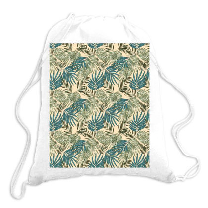 Greenery Palm Leaves Pattern Drawstring Bags Designed By Visudylic Creations