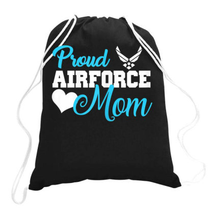 Womens Proud Air Force Mom Heart Military Family Gift Women T Shirt T Drawstring Bags Designed By Time5803