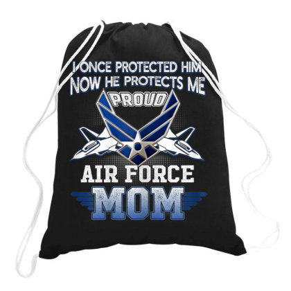 Womens Pride Military Family   Proud Mom Air Force T Shirt Gift Drawstring Bags Designed By Time5803