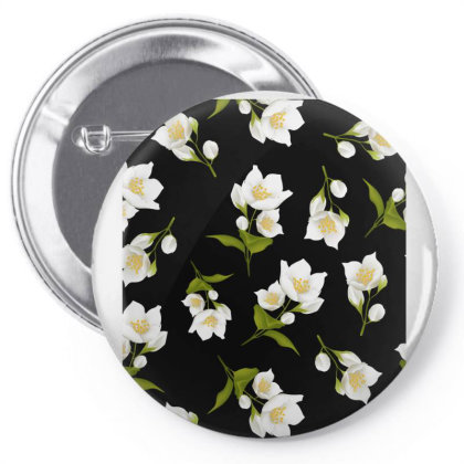 Jasmine Flower Dark Pattern Pin-back Button Designed By Visudylic Creations