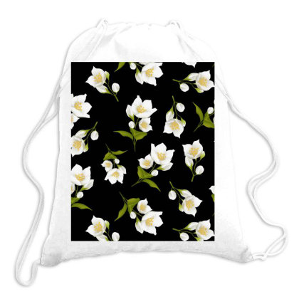Jasmine Flower Dark Pattern Drawstring Bags Designed By Visudylic Creations