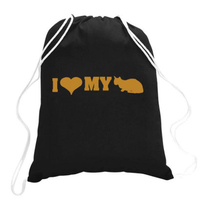 I Love My Cat  Funny T Shirt Drawstring Bags Designed By Gnuh79
