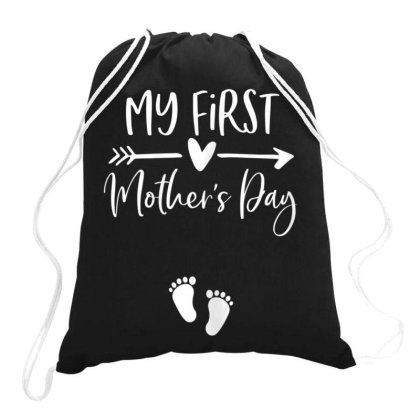 Womens My First Mothers Day Pregnancy Announcement Shirt Mom To Be Drawstring Bags Designed By Time5803