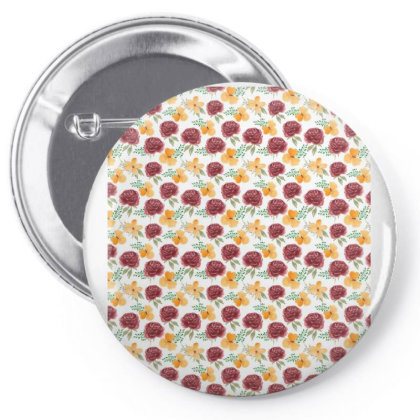Rose Flower Floral Pattern Pin-back Button Designed By Visudylic Creations