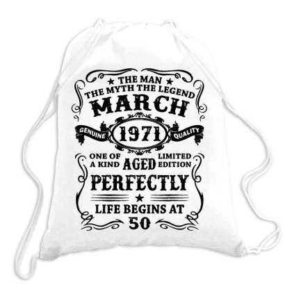 Mens 50 Year Old Birthday Gift The Man Myth Legend March 19711 Drawstring Bags Designed By Romeo And Juliet