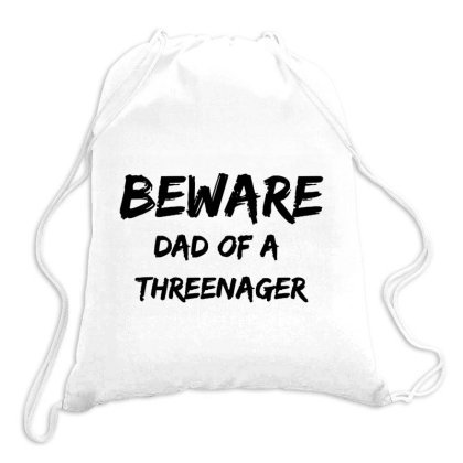 Mens Funny Fathers Day Gift Dad Of A Threenager Drawstring Bags Designed By Romeo And Juliet
