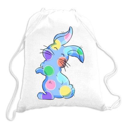 Blue Polka Dot Easter Bunny Drawstring Bags Designed By Honeysuckle