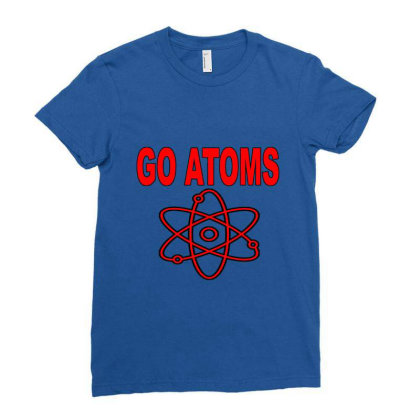 Blue White Atoms Science  T Shirt Ladies Fitted T-shirt Designed By Goddesign