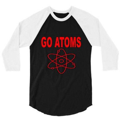 Blue White Atoms Science  T Shirt 3/4 Sleeve Shirt Designed By Goddesign