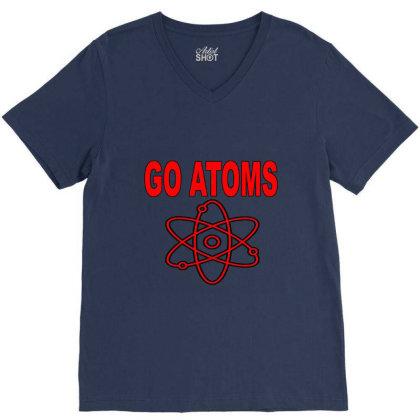 Blue White Atoms Science  T Shirt V-neck Tee Designed By Goddesign