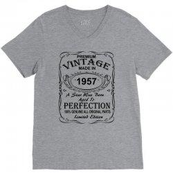 Birthday Gift Ideas for Men and Women was born 1957 V-Neck Tee | Artistshot