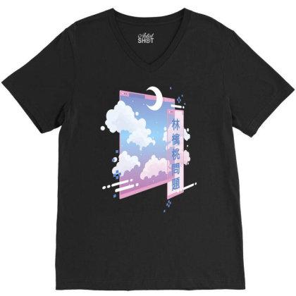 80s  Vaporwave  Pastel Goth Soft Grunge  Kawaii Moon T Shirt V-neck Tee Designed By Time5803